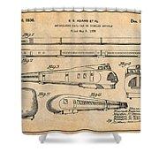 1935 Union Pacific M-10000 Railroad Antique Paper Patent Print Shower Curtain
