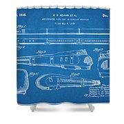 1935 Union Pacific M-10000 Railroad Blueprint Patent Print Shower Curtain