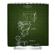 1936 Toilet Bowl - Dark Green Blueprint Shower Curtain