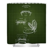 1936 Toilet Seat - Dark Green Blueprint Shower Curtain