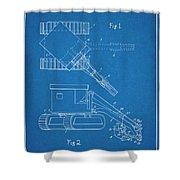 1937 Backhoe Excavator Blueprint Patent Print Shower Curtain