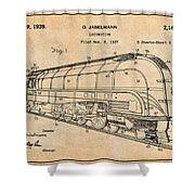 1937 Jabelmann Locomotive Antique Paper Patent Print Shower Curtain