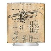1937 Trumpet Antique Paper Patent Print Shower Curtain
