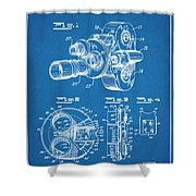 1938 Bell And Howell Movie Camera Patent Print Blueprint Shower Curtain