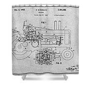 1942 John Deere Tractor Gray Patent Print Shower Curtain