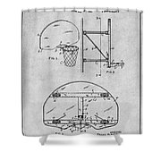 1944 Basketball Goal Gray Patent Print Shower Curtain
