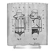 1947 Jacques Cousteau Diving Suit Patent Print Gray Shower Curtain