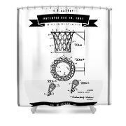 1951 Basketball Goal - Black Retro Style Shower Curtain