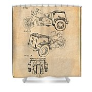 1952 3 Three Wheel Motorcycle Antique Paper Patent Print Shower Curtain