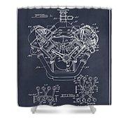 1954 Chrysler 426 Hemi V8 Engine Blackboard Patent Print Shower Curtain