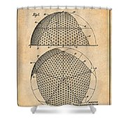 1954 Geodesic Dome Antique Paper Patent Print Shower Curtain