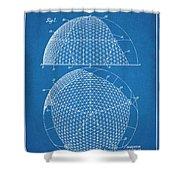1954 Geodesic Dome Blueprint Patent Print Shower Curtain
