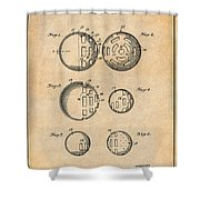 1954 Wiffle Ball Patent Print Antique Paper Shower Curtain