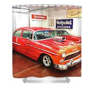 1955 Chevy Blower In The Gorage Shower Curtain