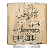 1960 Bombardier Snowmobile Antique Paper Patent Print Shower Curtain