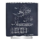 1960 Bombardier Snowmobile Blackboard Patent Print Shower Curtain