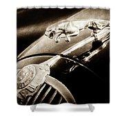 1964 Jaguar Mk2 Saloon Hood Ornament And Emblem-1421bscl Shower Curtain