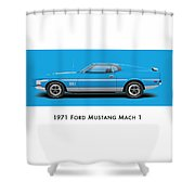 1971 Ford Mustang Mach 1 - Grabber Blue Ver.2 Shower Curtain