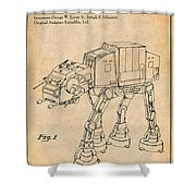 1982 Star Wars At-at Imperial Walker Antique Paper Patent Print Shower Curtain