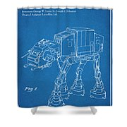 1982 Star Wars At-at Imperial Walker Blueprint Patent Print Shower Curtain