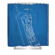 1988 Motorola Cell Phone Blueprint Patent Print Shower Curtain