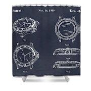 1999 Rolex Diving Watch Patent Print Blackboard Shower Curtain