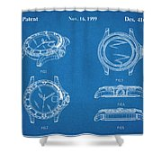 1999 Rolex Diving Watch Patent Print Blueprint Shower Curtain