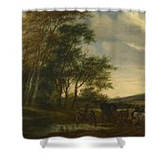 A Landscape With A Carriage And Horsemen At A Pool  Shower Curtain