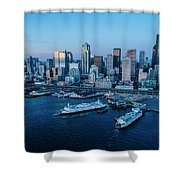 Aerial View Of A City, Seattle, King Shower Curtain