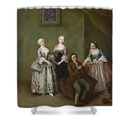 An Interior With Three Women And A Seated Man  Shower Curtain