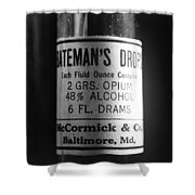 Antique Mccormick And Co Baltimore Md Bateman's Drops Opium Bottle Label - Black And White Shower Curtain by Marianna Mills