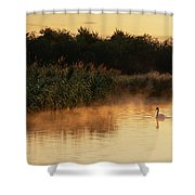 Beautiful Dawn Landscape Image Of River Thames At Lechlade-on-th Shower Curtain