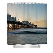 Beautiful Vibrant Sunrise Landscape Image Of Worthing Pier In We Shower Curtain