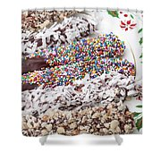Chocolate Covered Pretzels Shower Curtain by Kyle Lee