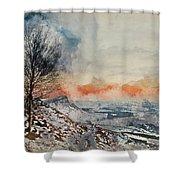 Digital Watercolor Painting Of Beautiful Winter Landscape At Vib Shower Curtain