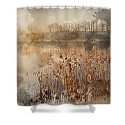 Digital Watercolor Painting Of Landscape Of Lake In Mist With Su Shower Curtain