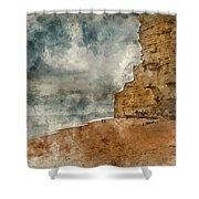 Digital Watercolour Painting Of Beautiful Vibrant Sunset Landsca Shower Curtain