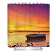 Fishing Boat At Sunset Time Shower Curtain