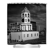 Halifax Town Clock 2017 Black  And White Shower Curtain