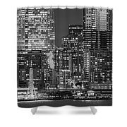 Illuminated City At Night, Seattle Shower Curtain