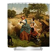 Mrs  Schuyler Burning Her Wheat Fields On The Approach Of The British  Shower Curtain