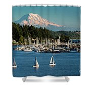 Sailboats At Gig Harbor Marina With Mount Rainier In The Background Shower Curtain