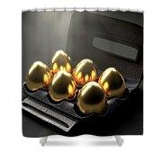 Six Golden Eggs In An Egg Carton Shower Curtain