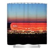 Soccer Stadium Lit Up At Dusk, Allianz Shower Curtain