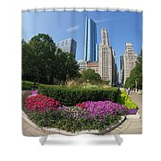 Summer Flowers In Bloom, Millennium Park, Chicago City Center, I Shower Curtain