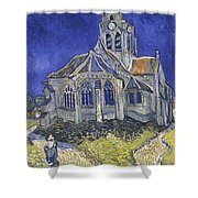 The Church In Auvers Sur Oise  View From The Chevet  Shower Curtain