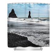 The Dramatic Black Sand Beach Of Reynisfjara. Shower Curtain