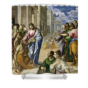 The Miracle Of Christ Healing The Blind  Shower Curtain