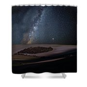 Vibrant Milky Way Composite Image Over Landscape Of Countryside  Shower Curtain