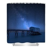 Vibrant Milky Way Composite Image Over Landscape Of Long Exposur Shower Curtain
